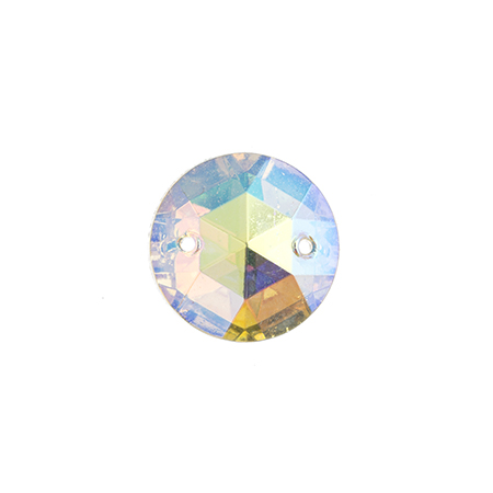 S/O STONE GLASS 15mm ROUND FACET CRYSTAL AB image