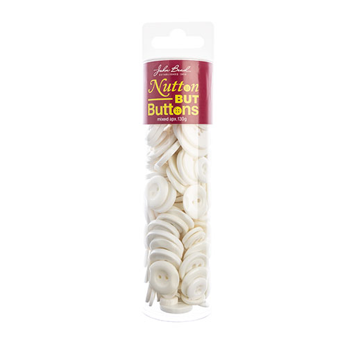 Nutton but Buttons 130g Tube Mixed Sizes Resin White image