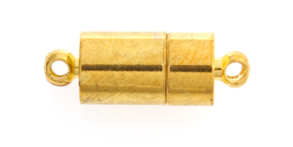 MAGNETIC CLASP ROUND TUBE INSERT 7x20mm GOLD 10pairs image