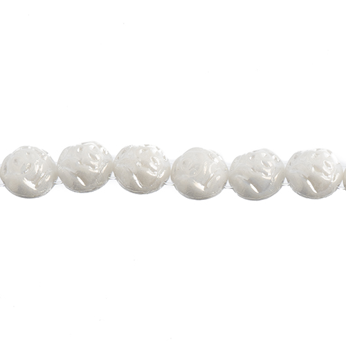 Czech Candy Rose Beads 8mm 2holes White Alabaster Luster image