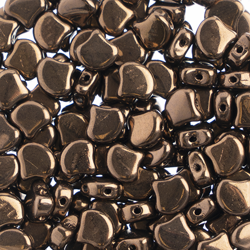 Czech Ginkgo Leaf Bead 7.5mm Jet/Dark Bronze image