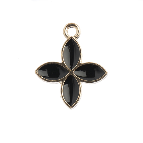 Sweet & Petite Charms 15x18mm Four Petals Black 10pcs image