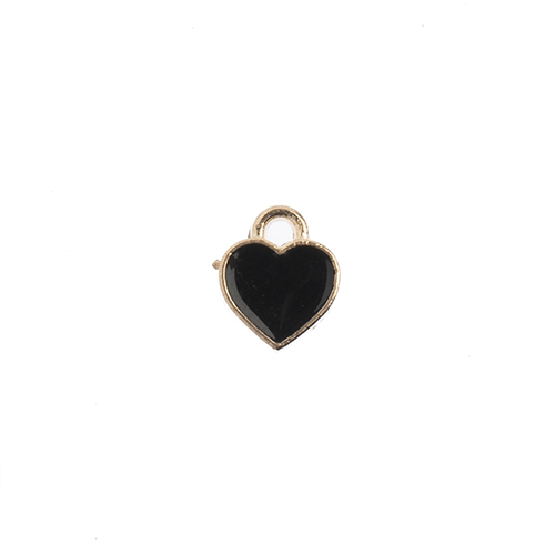 Sweet & Petite Charms 7x8mm Small Hearts Black 10pcs image