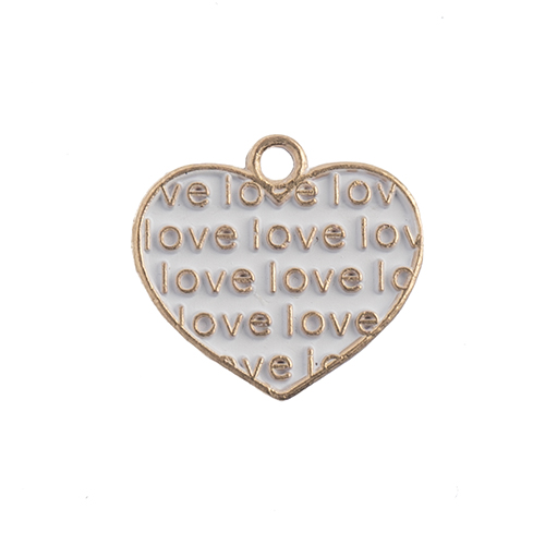 Sweet & Petite Charms 15x16mm Heart w/ Words White 10pcs image