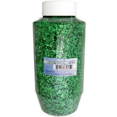 GLITTER FLAKES VIALS Large Jar Green w/Sifter Top image