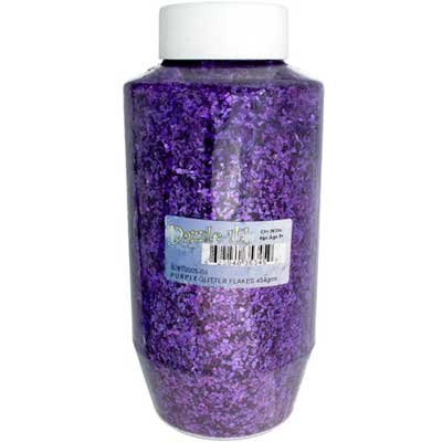 GLITTER FLAKES VIALS Large Jar Purple w/Sifter Top image
