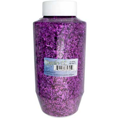 GLITTER FLAKES VIALS Large Jar Fuchsia w/Sifter Top image