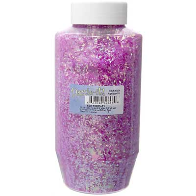 Glitter Flakes Vials Large Jar Iridescent Pink w/Sifter Top image
