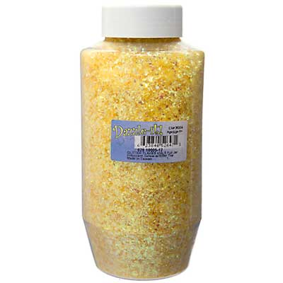 Glitter Flakes Vials Large Jar Iridescent Yellow w/Sifter Top image