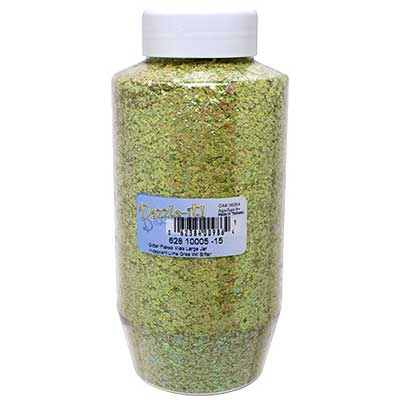 Glitter Flakes Vials Large Jar Iridescent Lime Gree W/ Sifter image
