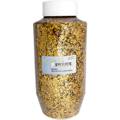 GLITTER FLAKES VIALS Large Jar Gold w/Sifter Top image