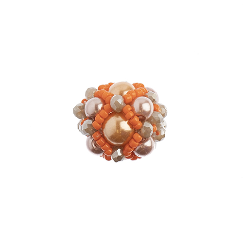 Beaded Focal Beads - Orange 3pcs image