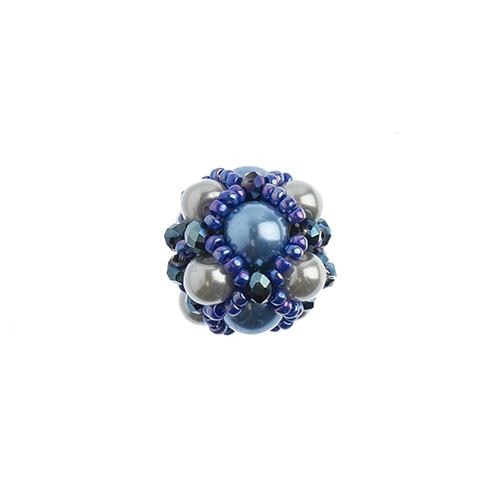 Beaded Focal Beads - Blue 3pcs image