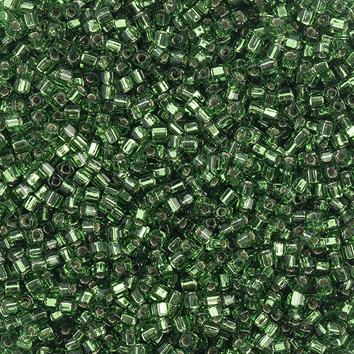 Miyuki Square/Cube Beads 1.8mm apx 20g Green Silverlined image