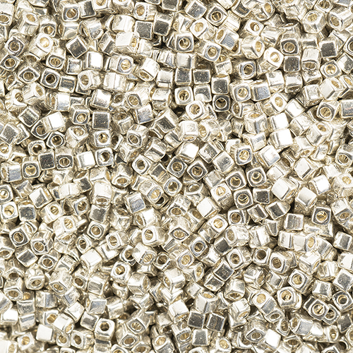 Miyuki Square/Cube Beads 1.8mm apx 20g Silver Galvanized image
