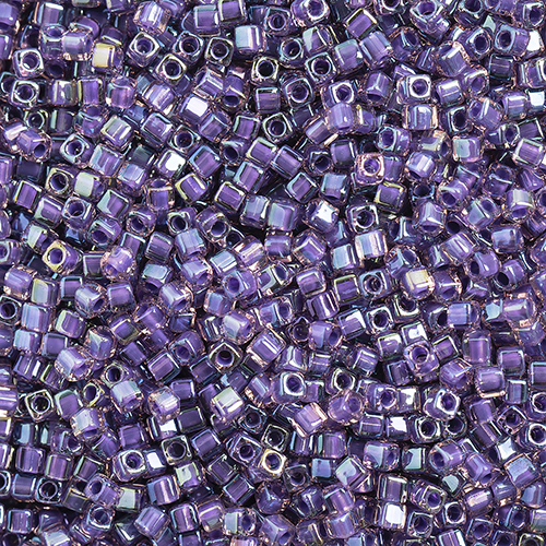 Miyuki Square/Cube Beads 1.8mm Purple Opaque AB Luster image