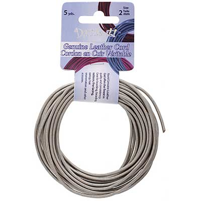 Dazzle-It Genuine Leather Cord 2mm Round Metallic Silver 5yds image