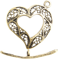 BRASS ANT. TOGGLE HEART FILLIGREE 21mm image
