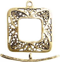 BRASS ANT. TOGGLE SQUARE FILLIGREE 22mm image