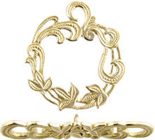 BRASS TOGGLE FILLIGREE LEAVES 24mm image
