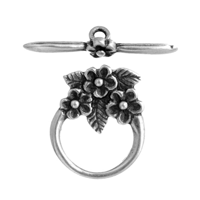 Toggle - 3 Flowers 15mm Antique Silver image