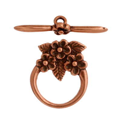 Toggle - 3 Flowers 15mm Antique Copper image