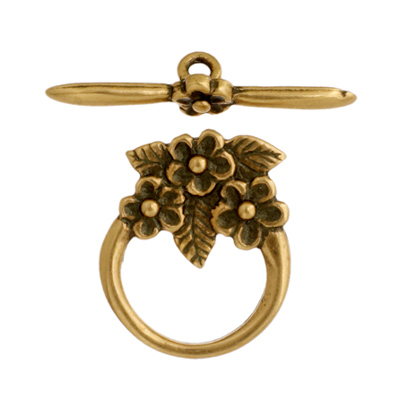 Toggle - 3 Flowers 15mm Antique Brass image