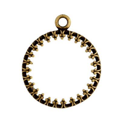 Pendant - Round Frame 16mm Antique Brass image