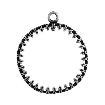Pendant - Round Frame 20mm Antique Silver image
